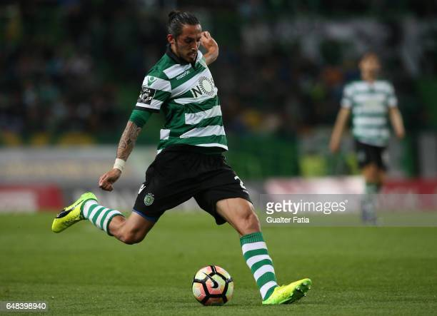 Sporting CP's defender Ezequiel Schelotto from Argentina in action during the Primeira Liga match between Sporting CP and Vitoria Guimaraes at...