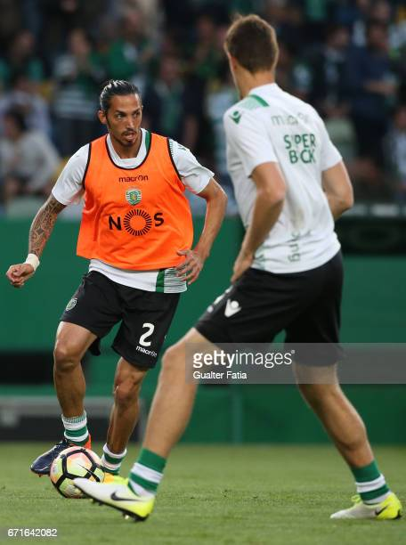 Sporting CP's defender Ezequiel Schelotto from Argentina in action during warm up before the start of the Primeira Liga match between Sporting CP and...