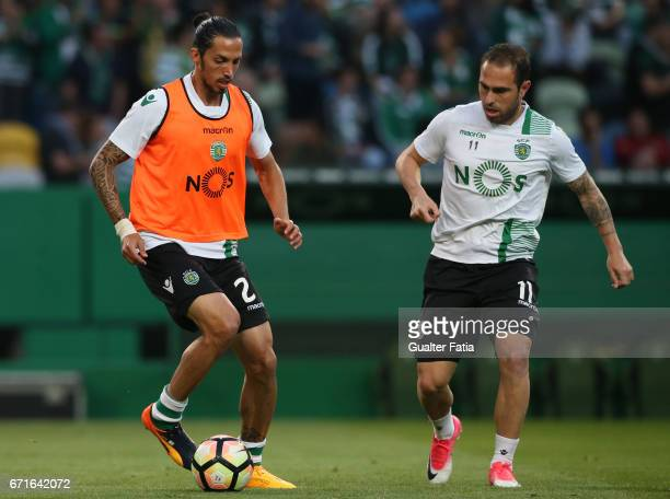 Sporting CP's defender Ezequiel Schelotto from Argentina with Sporting CP's midfielder Bruno Cesar from Brazil in action during warm up before the...