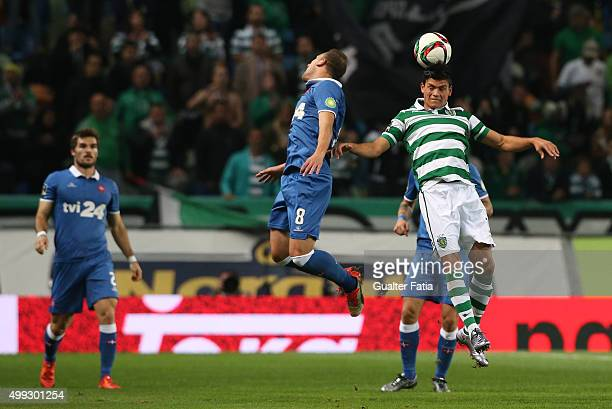 Sporting CP's defender Jonathan Silva with Os Belenenses' midfielder Andre Sousa in action during the Primeira Liga match between Sporting CP and Os...