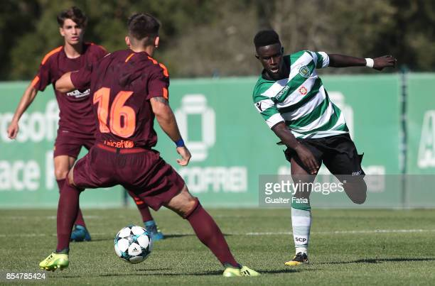 Sporting CP's Elves Balde in action during the UEFA Youth League match between Sporting CP and FC Barcelona at CGD Stadium Aurelio Pereira on...