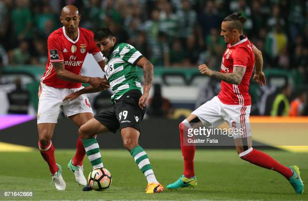 Sporting CPÕs forward Alan Ruiz from Argentina with SL BenficaÕs defender from Brazil Luisao and SL BenficaÕs midfielder from Serbia Ljubomir Fejsa...