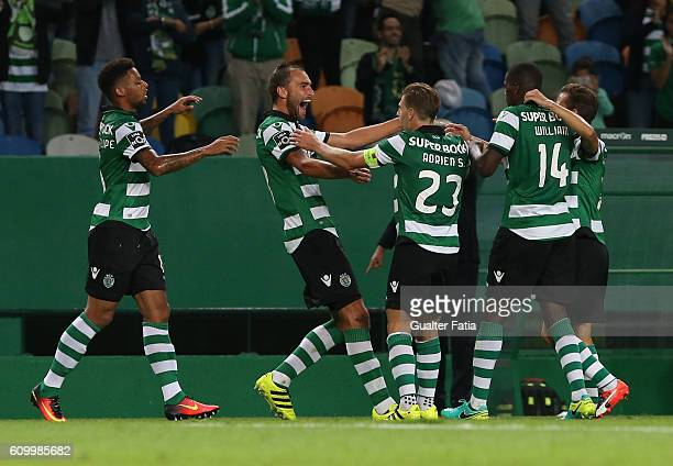 Sporting CP's forward Bas Dost from Holland celebrates with teammates after scoring a goal during the Primeira Liga match between Sporting CP and...