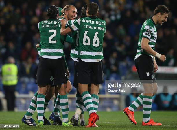 Sporting CP's forward Bas Dost from Holland celebrates with teammates after scoring a goal during the Primeira Liga match between GD Estoril Praia...