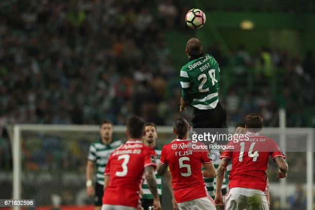 Sporting CP's forward Bas Dost from Holland higher heads the ball during the Sporting CP v SL Benfica Portuguese Primeira Liga match at Estadio Jose...