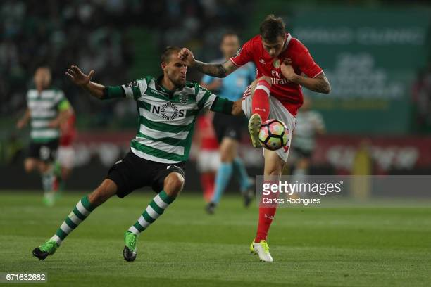 Sporting CP's forward Bas Dost from Holland vies with Benfica's defender Victor NilssonLindelof from Sweden during the Sporting CP v SL Benfica...