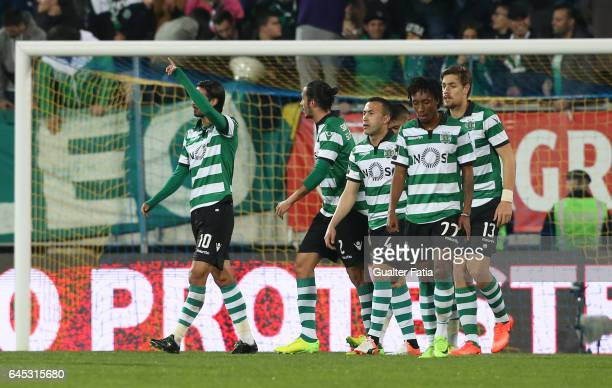 Sporting CP's forward Bryan Ruiz from Costa Rica celebrates with teammates after scoring a goal during the Primeira Liga match between GD Estoril...