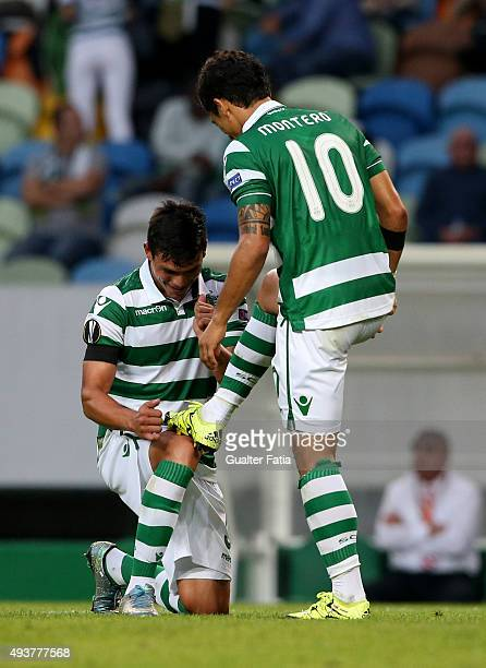 Sporting CP's forward Fredy Montero celebrates with teammate Jonathan Silva after scoring a goal during the UEFA Europa League match between Sporting...