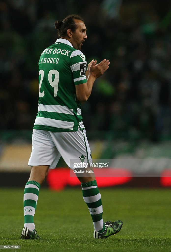 Sporting CP's forward from Argentina <a gi-track='captionPersonalityLinkClicked' href=/galleries/search?phrase=Hernan+Barcos&family=editorial&specificpeople=4755050 ng-click='$event.stopPropagation()'>Hernan Barcos</a> in action during the Primeira Liga match between Sporting CP and Rio Ave FC at Estadio Jose Alvalade on February 8, 2016 in Lisbon, Portugal.
