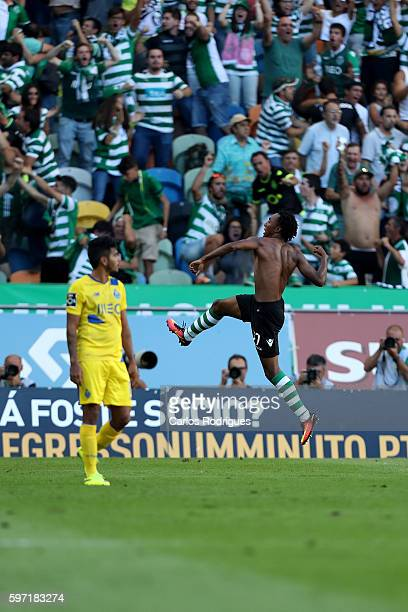 Sporting CP's forward Gelson Martins from Portugal celebrates scores Sporting's second goal during the Portuguese Primeira Liga between Sporting CP...