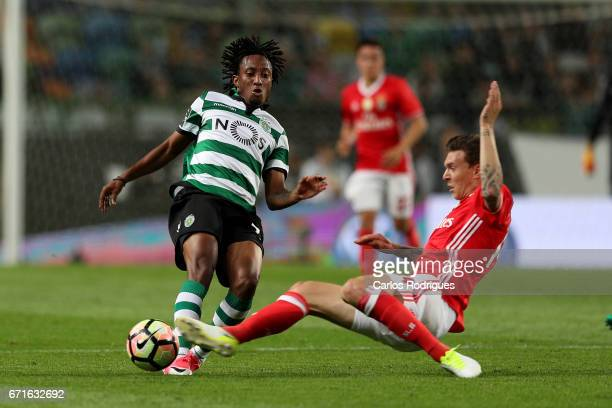 Sporting CP's forward Gelson Martins from Portugal tackled by Benfica's defender Victor NilssonLindelof from Sweden during the Sporting CP v SL...