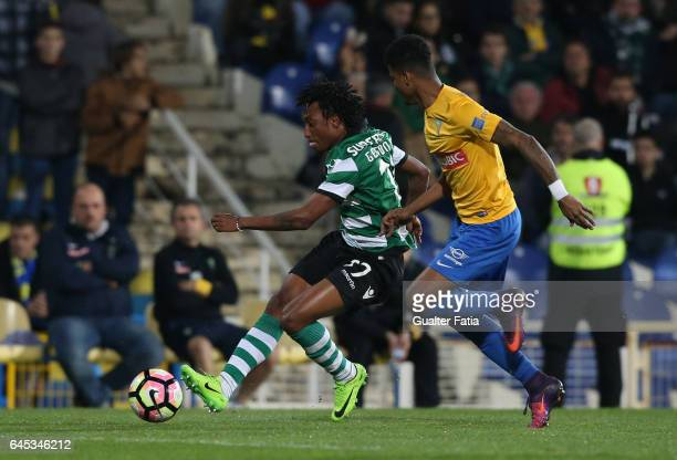 Sporting CP's forward Gelson Martins from Portugal with Estoril's defender Ailton Silva from Brazil in action during the Primeira Liga match between...