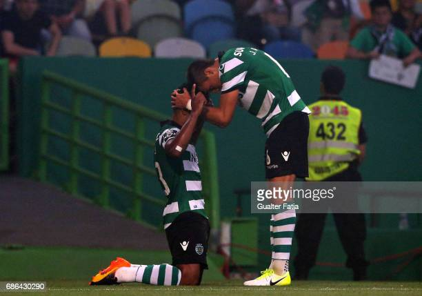Sporting CPÕs forward Matheus Pereira from Brazil celebrates with teammate Sporting CPÕs midfielder Joao Palhinha from Portugal after scoring a goal...