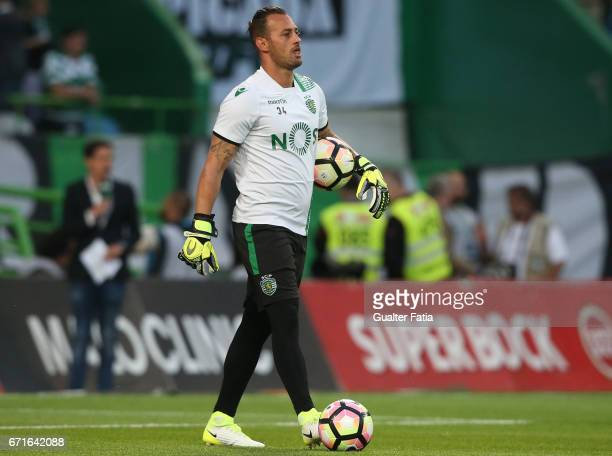 Sporting CP's goalkeeper Beto from Portugal in action during warm up before the start of the Primeira Liga match between Sporting CP and SL Benfica...