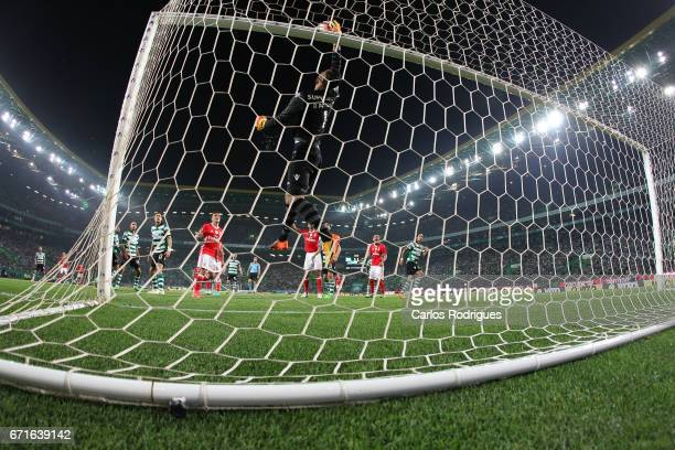 Sporting CPÕs goalkeeper Rui Patricio from Portugal saves a goal during the Sporting CP v SL Benfica Portuguese Primeira Liga match at Estadio Jose...