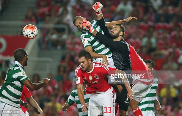 Sporting CP's goalkeeper Rui Patricio with teammate Islam Slimani in action during the Portuguese Super Cup match between SL Benfica and Sporting CP...