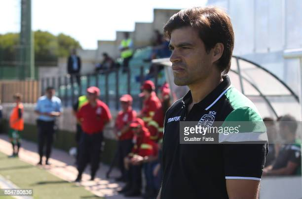 Sporting CP's head coach Tiago Fernandes before the start of the UEFA Youth League match between Sporting CP and FC Barcelona at CGD Stadium Aurelio...