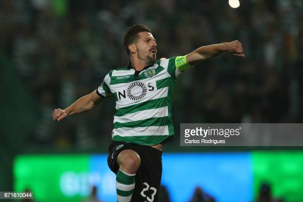 Sporting CP's midfielder Adrien Silva from Portugal celebrates scoring Sporting goal during the Sporting CP v SL Benfica Portuguese Primeira Liga...
