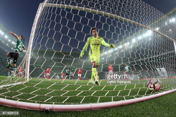 Sporting CPÕs midfielder Adrien Silva from Portugal celebrates scoring Sporting goal during the Sporting CP v SL Benfica Portuguese Primeira Liga...