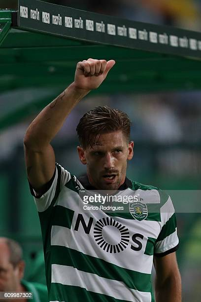 Sporting CP's midfielder Adrien Silva from Portugal in action during the Primeira Liga match between Sporting CP and Estoril Praia at Estadio Jose...
