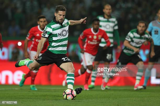 Sporting CP's midfielder Adrien Silva from Portugal scored Sporting goal during the Sporting CP v SL Benfica Portuguese Primeira Liga match at...