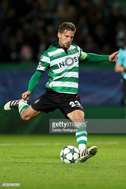Sporting CP's midfielder Adrien Silva from Portugal scores Sporting goal during the Sporting Clube de Portugal v Real Madrid CF UEFA Champions League...
