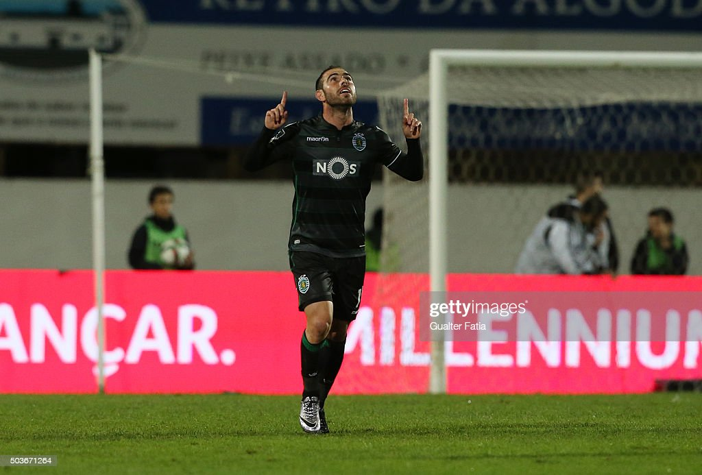 Sporting CPÕs midfielder Bruno Cesar celebrates after scoring a goal during the Primeira Liga match between Vitoria Setubal and Sporting CP at Estadio do Bonfim on January 6, 2016 in Setubal, Portugal.