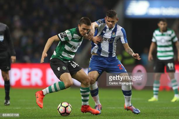 Sporting CP's midfielder Joao Palhinha from Portugal vies with FC Porto's forward Soares from Brazil during the FC Porto v Sporting CP Primeira Liga...
