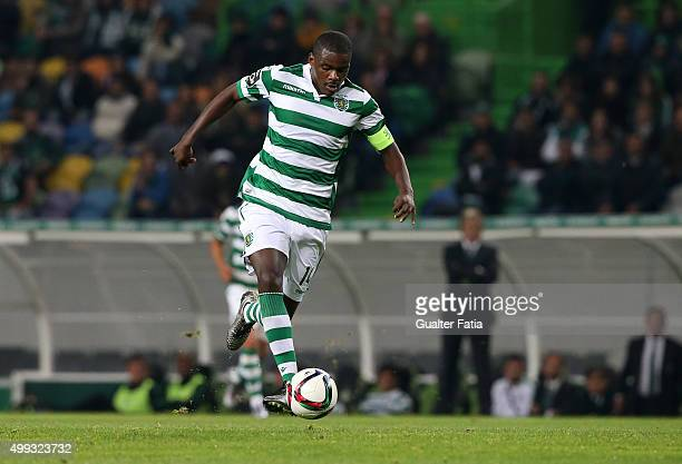 Sporting CP's midfielder William Carvalho in action during the Primeira Liga match between Sporting CP and Os Belenenses at Estadio Jose Alvalade on...