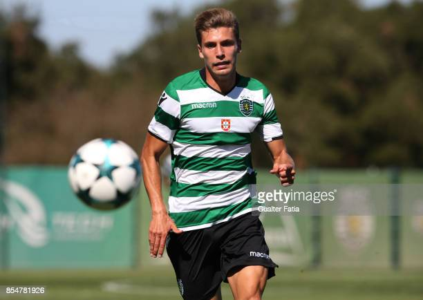 Sporting CP's Miguel Luis in action during the UEFA Youth League match between Sporting CP and FC Barcelona at CGD Stadium Aurelio Pereira on...