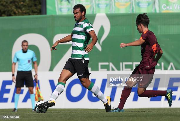 Sporting CP's Pedro Ferreira with FC Barcelona Collado in action during the UEFA Youth League match between Sporting CP and FC Barcelona at CGD...