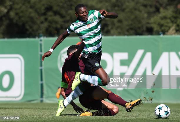 Sporting CP's Rafael Leao tackled by FC Barcelona Brandariz during the UEFA Youth League match between Sporting CP and FC Barcelona at CGD Stadium...