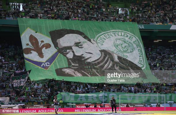 Sporting CP's supporters make an homage to Marco Ficini supporter of Sporting CP and Fiorentina who died recently in Portugal before the start of the...