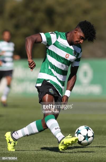 Sporting CP's Thierry Correia in action during the UEFA Youth League match between Sporting CP and FC Barcelona at CGD Stadium Aurelio Pereira on...