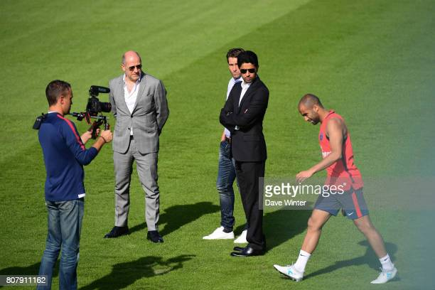 PSG sporting director Antero Henrique former player Sherrer Maxwell of PSG who has now joined the staff PSG president Nasser AlKhelaifi and Lucas...