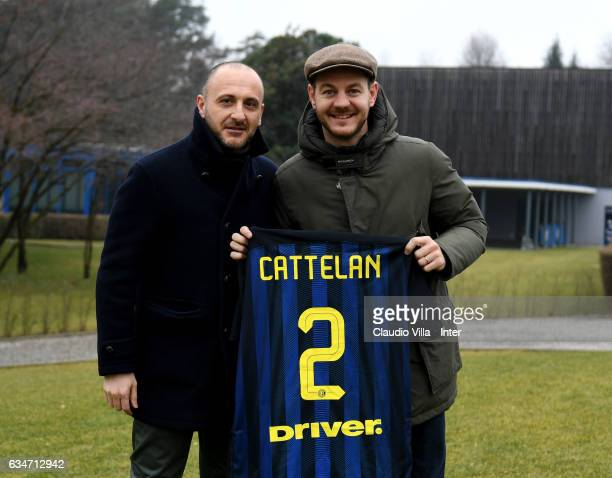 Sporting Director FC Internazionale Piero Ausilio and Alessandro Cattelan pose for a photo prior to the training session at Suning Training Center at...