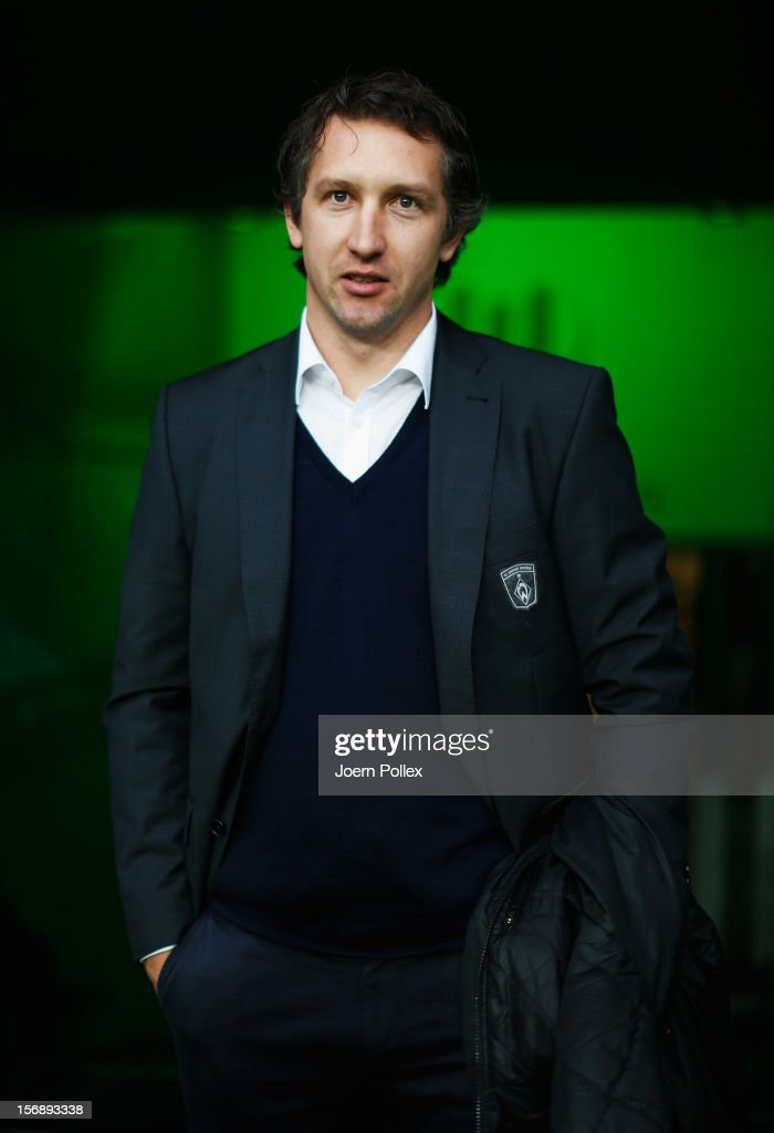 Sporting director <a gi-track='captionPersonalityLinkClicked' href=/galleries/search?phrase=Frank+Baumann&family=editorial&specificpeople=240409 ng-click='$event.stopPropagation()'>Frank Baumann</a> of Bremen is seen prior to the Bundesliga match between VfL Wolfsburg and SV Werder Bremen at Volkswagen Arena on November 24, 2012 in Wolfsburg, Germany.