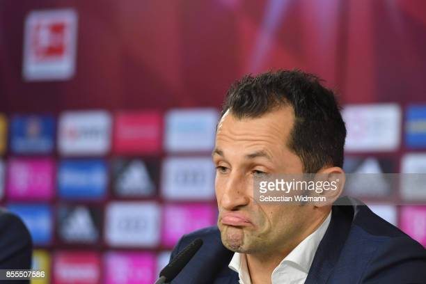 Sporting director Hasan Salihamidzic of FC Bayern Muenchen attends a press conference at Saebener Strasse training ground on September 29 2017 in...