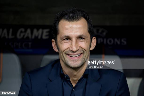 Sporting director Hasan Salihamidzic sits on the bench prior to the UEFA Champions League group B match between Bayern Muenchen and Celtic FC at...