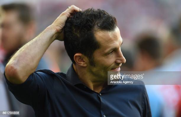 Sporting director of FC Bayern Munich Hasan Salihamidzic reacts after winning the Bundesliga soccer match against SC Freiburg at Allianz Arena in...