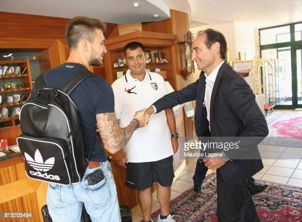 Sporting director of Palermo Fabio Lupo salutes Josip Posavec on July 12 2017 in Gradisca d'Isonzo Italy
