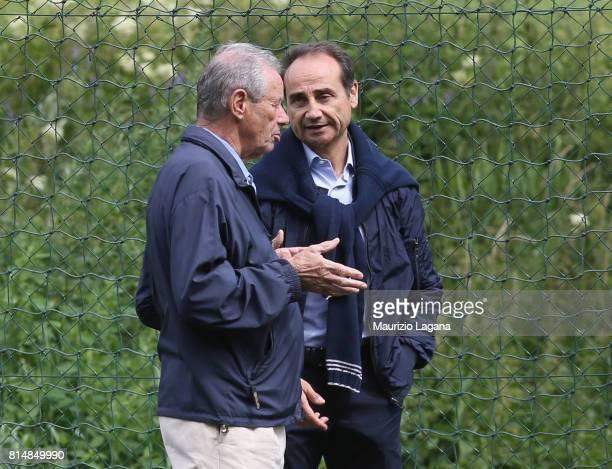 Sporting director of Palermo Fabio Lupo speaks with president Maurizio Zamparini during preseason training camp on July 15 2017 in Bad Kleinkirchheim...