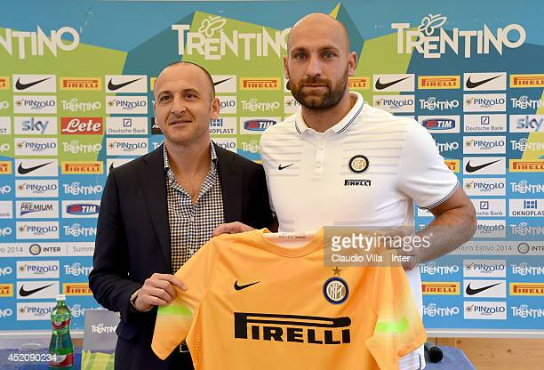 Sporting Director Piero Ausilio and Tommaso Berni attend FC Internazionale Milano press conference on July 13 2014 in Pinzolo near Trento Italy
