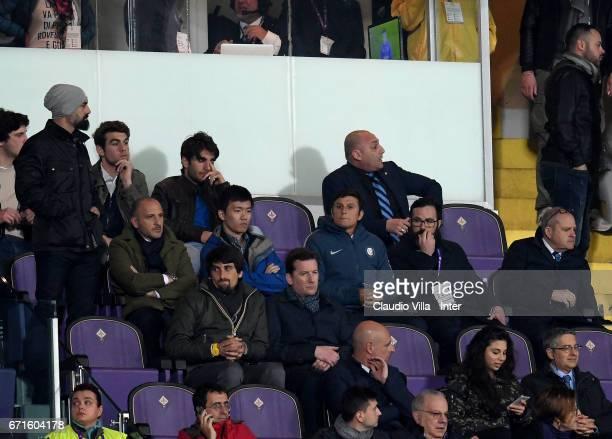Sporting Director Piero Ausilio FC Internazionale Milano board member Steven Zhang Kangyang and Vice President of FC Internazionale Milano Javier...