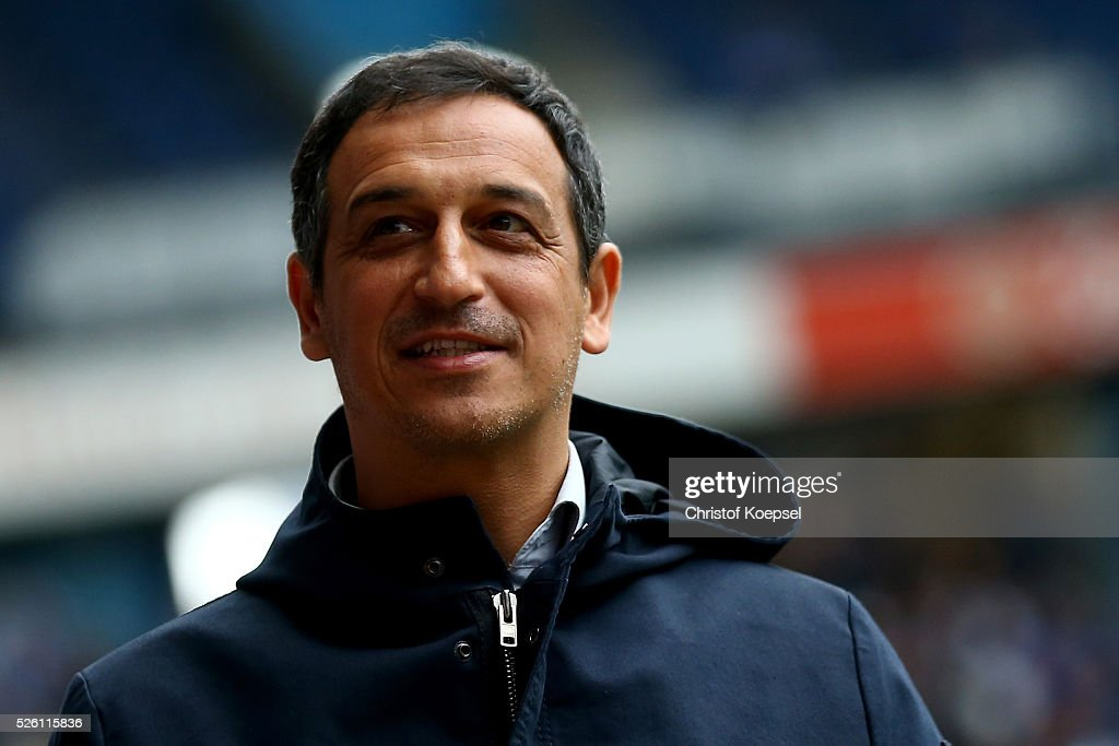 Sporting director Rachid Azzouzi of Duesseldorf looks on prior to the 2. Bundesliga match between MSV Duisburg and Fortuna Duesseldorf at Schauinsland-Reisen-Arena on April 29, 2016 in Duisburg, Germany.