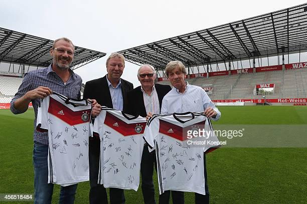 Sporting director Uwe Harttgen of RW Essen Horst Hrubesch head coach of the U21 national team of Germany Willi Lippens legend of RW Essen and Frank...
