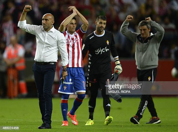 Sporting Gijon's coach Abelardo celebrates their draw against Real Madrid at the end of the Spanish league football match Sporting Gijon vs Real...