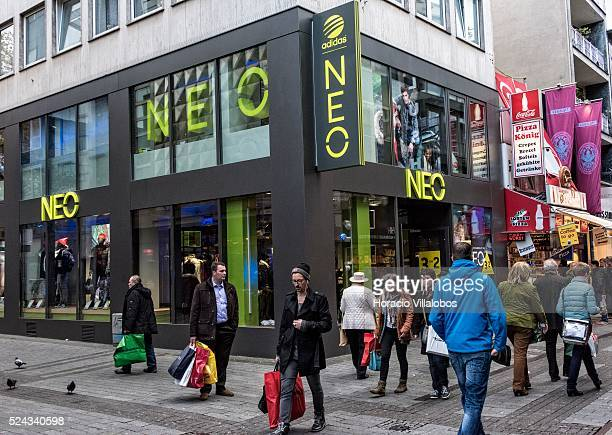 NEO Sporting Goods Shop in Hohe Strasse a main shopping street in Cologne Germany 10 November 2014 Hohe Strasse starts at the foot of the cathedral...