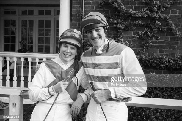 Sporting journalist Sue Montgomery and sports personality Jimmy Hill after riding in The Formula One Constructors Association Private Sweepstakes in...