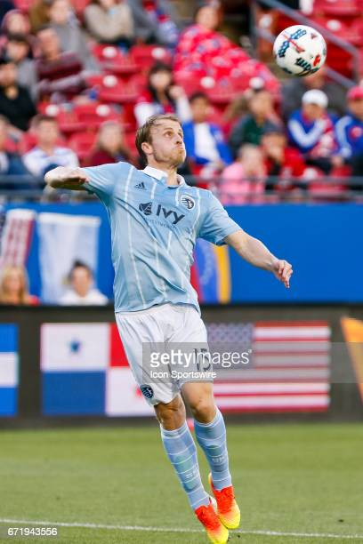 Sporting Kansas City defender Seth Sinovic plays a crossed ball in his box during the MLS match between Sporting KC and FC Dallas on April 22 2017 at...
